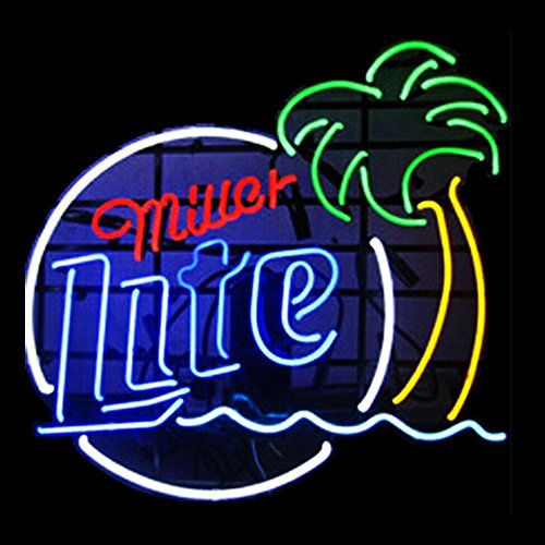 Free Shipping!Super Bright! New Miller Lite Palm Tree Sign Handcrafted Real Glass Neon Light Sign Home Beer Bar Pub Recreation Room Game Room Windows Garage Wall Sign 19x15 inches