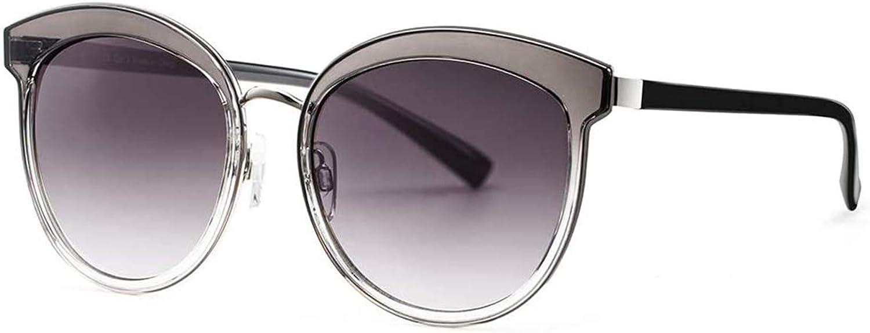 Avoalre Gafas de Sol Mujer en Moda 2020 Gafas Sol Señora Redondas Lentes Protección UV400 de PC Color en Gris de Cambio Paulatino de Marco de Acero Inoxidable para Viaje Playa Conducir Fiesta