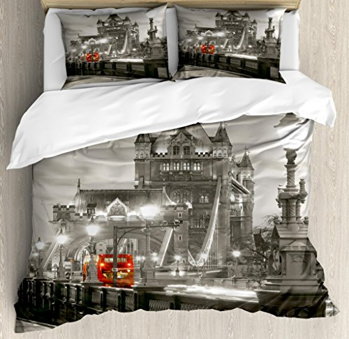 - Ambesonne Black and White Duvet Cover Set King Size, London Theme Tower Bridge in The Famous City Urban Life Scenery Europe, Decorative 3 Piece Bedding Set with 2 Pillow Shams, Taupe Grey Red