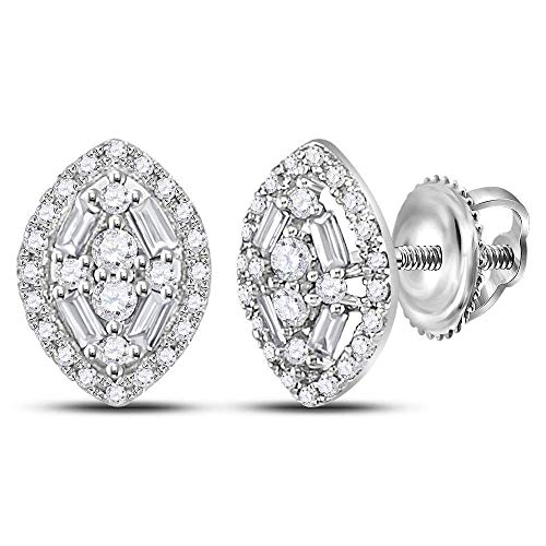 The Diamond Deal 14kt White Gold Womens Round Baguette Diamond Oval Cluster Earrings 1/3 Cttw ()