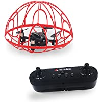 le-idea IDEA2 Red Drone In Cage Toy For Young Children Altitude Hover RC Helicopter Toy for Kids with Protective Frame nano helicopter