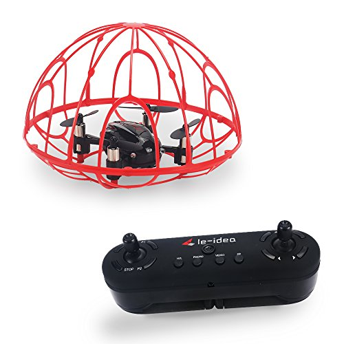 le-idea IDEA2 Red Drone In Cage Toy For Young Children Altitude Hover RC Helicopter Toy for Kids with Protective Frame nano helicopter (Rc Helicopter Hover)