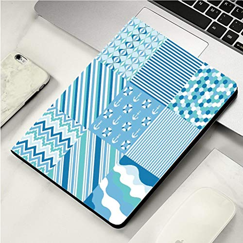 Stylish Print case for iPad air, ipad air2, Soft Back Ultra-Thin TPU Leather Smart case,Baby Shower Nautical Dots Stripes Zig Zag Chevron Wavy Anchor Life Belt Geometric Teal Turquoise Blue -