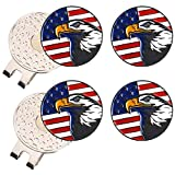 Amy Sport Golf Ball Marker Value 4 Pack with 2 Pcs Silver Magnetic Hat Clip, Durable Removable Attaches Easily to Cap Premium Gifts
