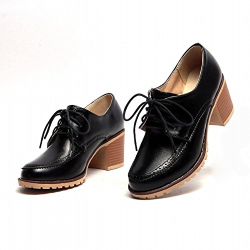 Carol Shoes Fashion Womens Comfort Lace-up Casual Chunky Mid Heel Oxfords Shoes Black tfUhwV7NTl