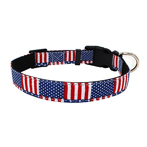 Suma-ma Adjustable Pet Puppy Collars Bowtie (S:28-36CM, M:36-51CM,L:51-66CM)- Plaid USA Flag Fashion Cat Dog Collars