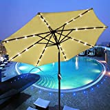 Cheap AMPERSAND SHOPS 9 Ft. Outdoor Patio Tilt Umbrella with Solar-Powered LED Lights (Beige)