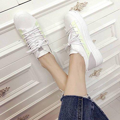 Zapatos Blancos Zapatos Planos Salvajes Mujeres Estudiantes Harajuku Zapatos de Lona Calzado Casual Deportivo Plataforma Impermeable Cabeza Redonda Talón (3-5Cm) Aumentado Goma Universal Encaje Dela
