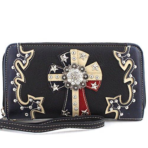 [Rhinestone American Star Concho Cross Women's wallet in Red and Blue. (Black)] (Western Rhinestone Star Concho)