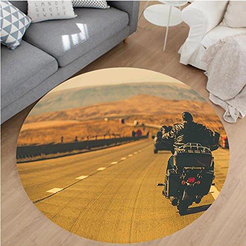 "Nalahome Modern Flannel Microfiber Non-Slip Machine Washable Round Area Rug-otorbiking Theme Biker Riding Motorcycle on the American Highway Digital Print Sand Brown area rugs Home Decor-Round 59"""