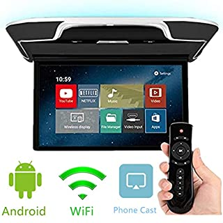 DDAUTO Android 8.1 Overhead Flip Down Monitors 13 inch Car Roof Mount MP5 Player IPS Screen, FM, HDMI in, AV in, Bluetooth, USB, for Car Caravan SUV MPV Truck (Smart 4K)- Black