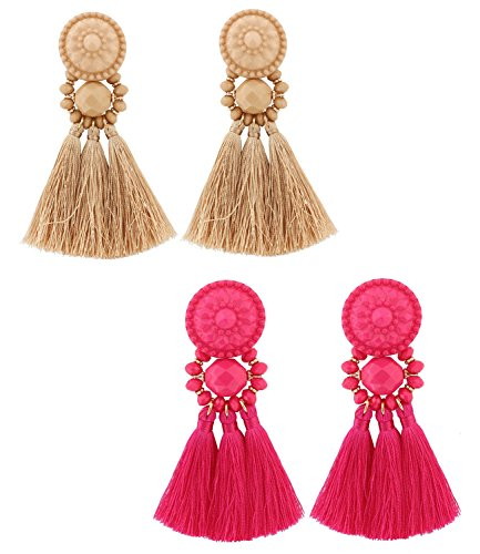 Brown Rose Earrings - boderier Bohemian Statement Thread Tassel Chandelier Drop Dangle Earrings with Cassandra Button Stud (Rose Red and Brown (set))