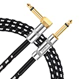 AIHIKO Electric Guitar Cable 20Ft/6m Braided Instrument Cord AMP Cable 1/4 Right Angle to Straight Jack with Gold Plugs for Bass and Keyboard Black White Tweed