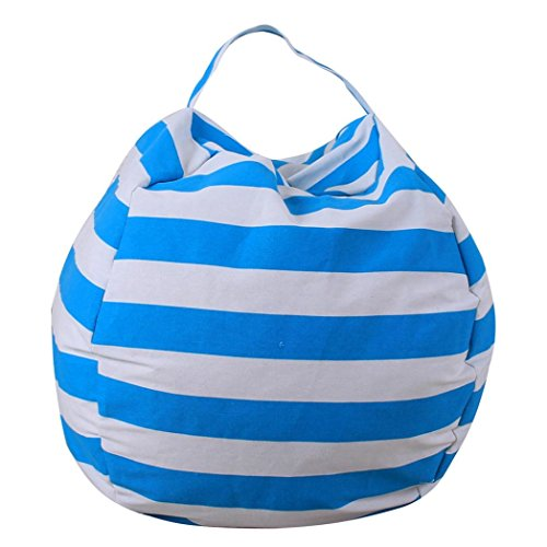 Classic Stripe Wallpaper - ManxiVoo Kids Stuffed Animal Storage Bean Bag Cover Chair Plush Toy Soft Stuffed Toy Stripe Organizer Extra-Large (Sky Blue)