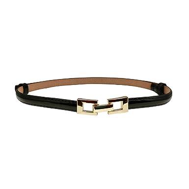 Ya Jin Women Leather Square Metal Buckle Skinny Waist Belt Adjustable Thin Belt