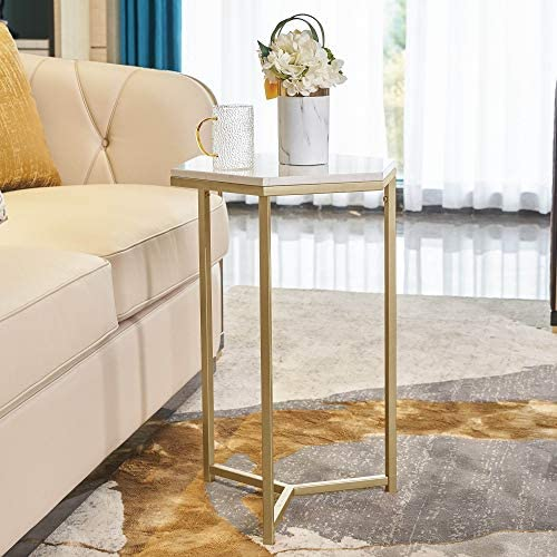 HAWOO Gold Side Table, Marble End Table, Modern Nightstand Accent Table for Small Spaces, Decorative Displaying Table for Bedroom Living Room, White Marble Top Gold Base, 16.5 L 24.5 H