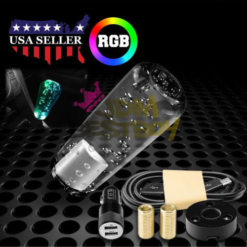Automarketbiz 15CM Car Universal Crystal Bubble Colorful LED Light Gear Shift Knob Shifter Manual Gear Stick with USB Charger