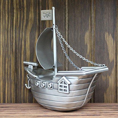 Personalized Pewter Finish Pirate Ship Piggy Bank by Center Gifts (Image #4)