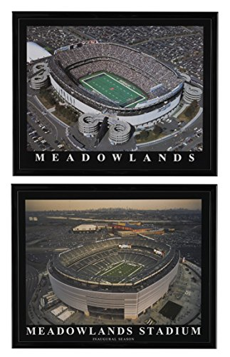 New York Jets New & Old Meadowland Stadium Framed Aerial Prints Set of 2 -