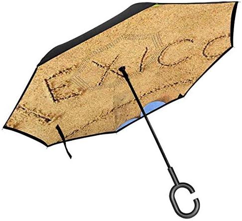 砂の上にメキシコビーチメキシコブランケット帽子フリップフロップ ユニセックス二重層防水ストレート傘車逆折りたたみ傘C形ハンドル付き