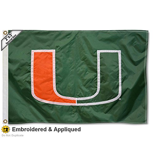 Miami Hurricanes 2x3 Foot Embroidered Flag