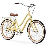 cycling fixed gear - sixthreezero EVRYjourney Women's Single-Speed Step-Through Hybrid Cruiser Bicycle, Cream w/ Brown Seat/Grips