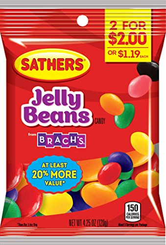 Sathers Jelly Beans Candy, Grape/Lemon/Lime/Cherry/Raspberry/Orange/Vanilla/Pineapple/Licorice, 4.25 Ounce (Pack of 12) (Jelly Sathers Beans)