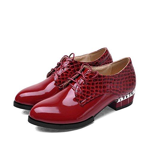 Lukket Kvinners sko Toe Snøring Pu Solid Hæler Lave Pumper Pekte Claret Voguezone009 gIHwxH