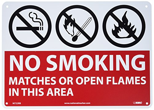 """UPC 887481066356, NMC M722RB No Smoking Sign, Legend """"NO SMOKING MATCHES OR OPEN FLAMES IN THIS AREA"""" with Graphic, 14"""" Length x 10"""" Height, Rigid Polystyrene Plastic, Red/Black on White"""