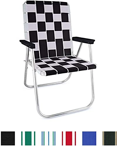 Lawn Chair USA Folding Aluminum Webbing Chair Classic, Black White