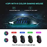 Gaming Mouse Wired, Pictek 6 Buttons Ergonomic Optical USB Mouse PC Computer Gaming Mice [3200 DPI Adjustable] [Auto Breathing Light] for Windows 7 / 8 / 10 / XP Vista Mac Macbook Linux, Black