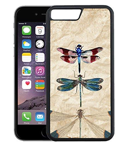 [TeleSkins] - Rubber Designer Case For iPhone 7 Plus / iPhone 8 Plus -Vintage Dragonflies Retro - Ultra Durable Slim Fit, Protective Plastic with Soft RUBBER TPU Snap On Back Case / Cover