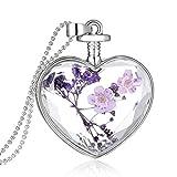 greatfun Mujeres hermoso corazón de flores seco Love-heart de vidrio que deseen Botella Colgante Collar, E, Talla única