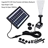 QueenA Outdoor Solar Fountain Pump with Battery Backup, 2.8W Solar Powered Bird Bath Fountain Pump with LED Lighting Decorative Solar Water Fountain Pump for Garden/Patio/Pond/Pool