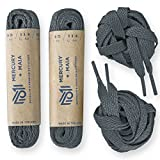 Mercury + Maia Flat Athletic Shoelaces 2 Pair Pack- Flat Casual Sport Shoe Laces for Sneakers & Tennis Shoes - Shoe Strings - 2 Pair Pack (54 inches, Dark Gray)