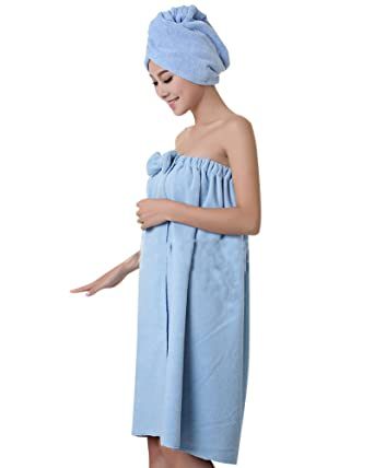 27e760ab8b Women s Towel Wrap Hair Turban Set Soft Microfiber Wearable Spa Shower Bath  Wrap Strapless Cover Up Bathing Towel Tube Dress Bathrobe Blue OneSize  ...