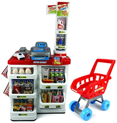 Velocity Toys Red Play House Super Market Children's Kid's Pretend Play Toy Food Play Set w/ Toy Cash Register, Working Scanner, Shopping Cart, Pretend Food and Money (Red) by Velocity Toys
