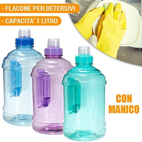 Botella de plástico de 1 litro, con asa, para detergente líquido o agua. Disponible en varios colores: Amazon.es: Hogar