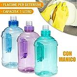 Bottiglia 1 LT per Detersivo Liquidi Acqua in Plastica Con Manico Vari Colori
