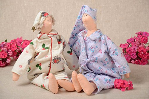 (Set Of 2 Handmade Fabric Soft Toys Collectible Rag Dolls Interior Decorating)