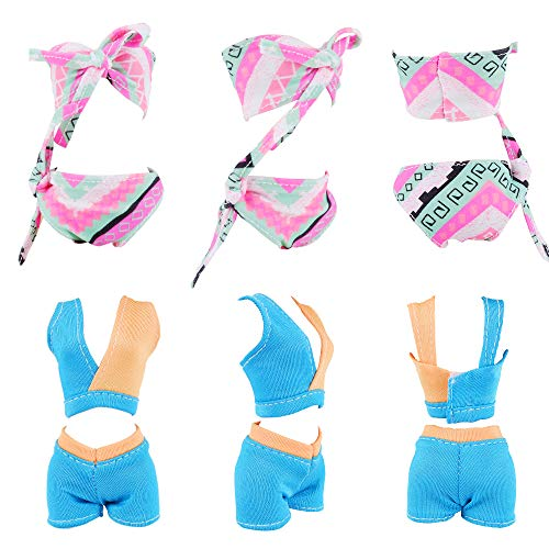 E-TING 10Pcs =5 Sets Beach Bikini Swimsuit Bathing Doll Clothes One-Piece Swimwear with 5 Pairs Shoes for 11.5 Inch Girl Dolls (Style B)