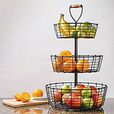 Giftburg 3-Tier Wrought Iron Display Wire Basket, 25.5 Inch Tall