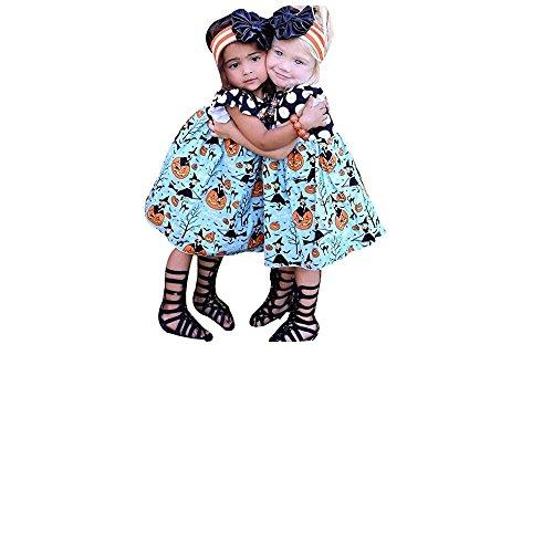 OWMEOT Toddler Little Girls Halloween Dress, Pumpkin Cartoon Princess Dress Outfits Clothes (Pink, 80) (Dress Ashley In Black)