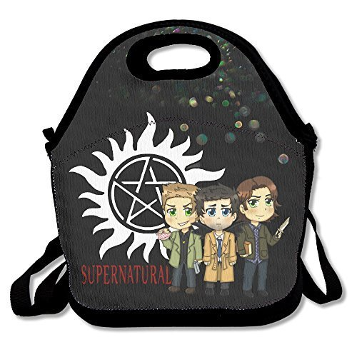 Bakeiy Supernatural Logo Lunch Tote Bag Lunch Box Neoprene Tote For Kids And Adults For Travel And Picnic School (Beaver Bag Lunch)