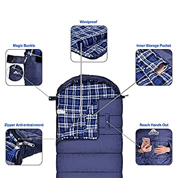 Agemore Cotton Flannel Sleeping Bag XL for Camping, Envelope Sleeping Bags for Adults 91 X35 , Great for 3-4 Season Traveling, Hiking, Outdoor Activities, Waterproof Comfort with Compression Sack