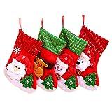 Kinteshun Christmas Santa Stockings Candy Bag,Assorted Flannel Santa Gift Socks Hanging Accessories for Xmas Tree Decoration(4pcs,Medium Size,10'')