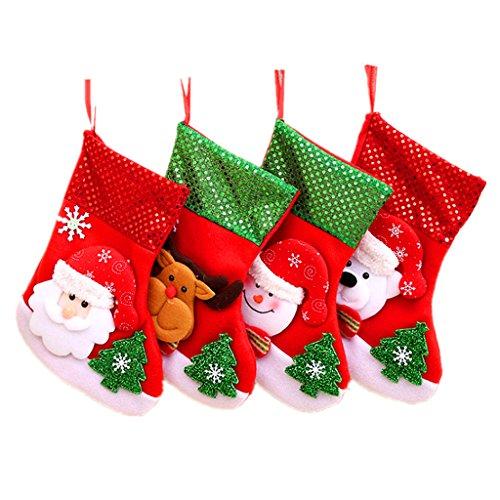 Kinteshun Christmas Santa Stockings Candy Bag,Assorted Flannel Santa Gift Socks Hanging Accessories for Xmas Tree Decoration(4pcs,Medium Size,10'') by Kinteshun