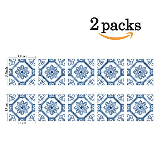Poromoro Spanish Portuguese Azulejo Style Peel and Stick Tile Stickers Set of -