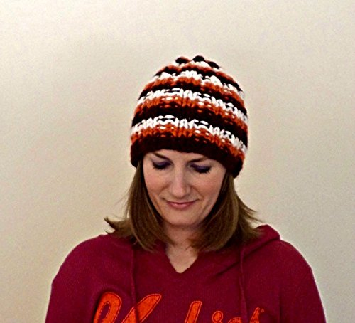 Virginia Tech Knit Hat, Handmade Chunky Knit Beanie, Maroon and Orange Knit Toque, Thick Knit Skullcap, Hokies Handknit Cap, Made to Order -  AnneliseKnits