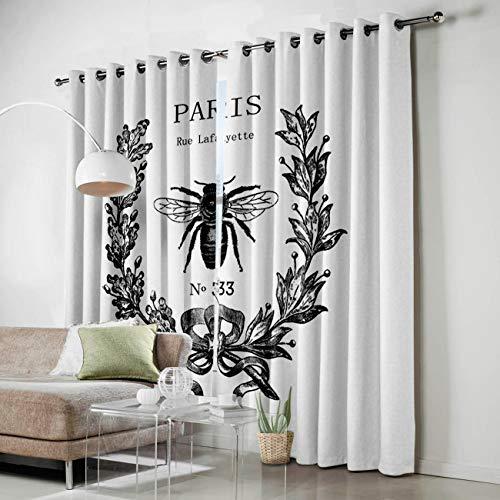 KAROLA Window Curtain 2 Panels Set Drapes Grommets Window Treatment Pair for Living, Dining Room, Bedroom - Rue Lafayette bee No 33,52